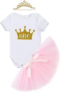 Baby Girls Newborn It's My 1st Birthday Cake Smash Shinny Printed Tutu Princess Dress 3Pcs Sparkly Gold Outfit