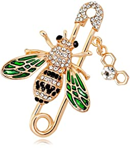 Bee Enamel Lapel Pin Safety Pins Bent Needle Breastpin Zinc Alloy Gold Plated Elegant Jewelry for Women Insect Dress Brooch Pin