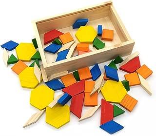 GARASANI Geometric Shapes Wooden Pattern Blocks Tangram Puzzle Toys (60 Pieces)