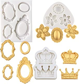 Alexless 3Pcs Gorgeous Vintage Royal Crown Vintage Frame Silicone Molds Cupcake Fondant Molds for Sugarcraft Cupcake Chocolate Candy Making, Clay Epoxy Resin Crafting Projects