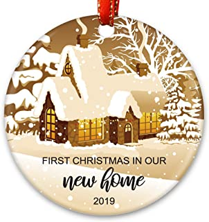 Our First Christmas in Our New Home Ornament 2019, Housewarming Gift Xmas Tree Decoration, Unique Christmas Ceramic Ornament (NEWHOME01)