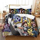 Parure de lit 220x240 cm Adulte Pokémon Dessin animé Moderne Imprimé 3D Housse de Couette avec Fermeture éclair et 2 Taies d'oreiller 65x65cm Polyester Hypoallergique pour Adulte