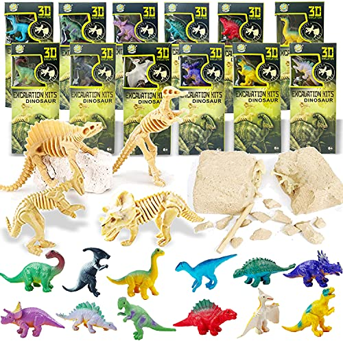 12 Pack Dig a Dinosaur Fossil and Figure Set   1 Dozen 3D Dino Excavation Bulk Science Kits for Paleontology Archaeology STEM Learning Kids Activity Party Favors