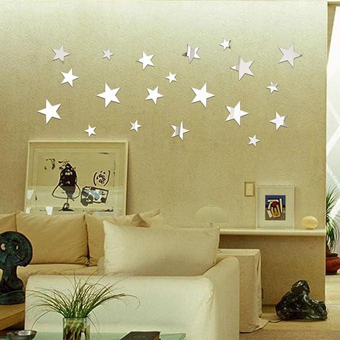 50pcs 3D Star Modern Mirror Effect DIY Home Room Decor Wall Art Decal Sticker hi