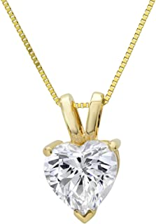 "Clara Pucci 0.4 CT Heart Cut Solid 14K Yellow Gold Solitaire Pendant Box Necklace 16"" Chain"