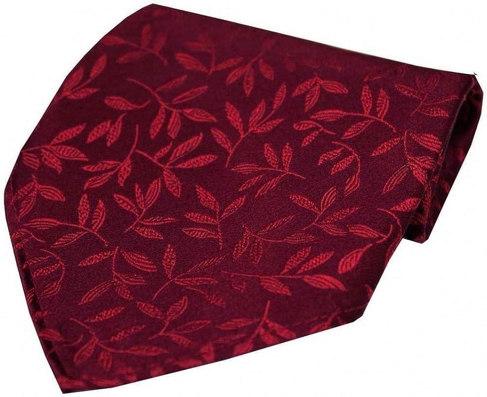 David Van Hagen Mens Leaf Jacquard Silk Handkerchief - Wine
