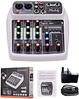 MZGA Muslady Mixer BT MP3 USB Input +48V Phantom Power for Music Recording (Color : White UK Plug)