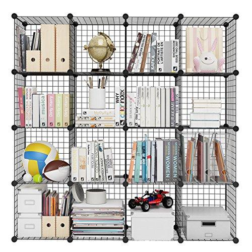 LIBRERÍA RESISTENTE: hecha de rejillas de alambre resistentes, esta librería de 16 cubos puede contener hasta 20kg por cubo, lo que le permite colocar sus libros, papeleo, ropa, sábana, toallas, juguetes, bolsas, accesorios y más ESTILO MODERNO: esta...
