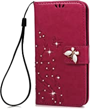 S5 Case,Samsung Galaxy S5 Case - Mavis's Diary 3D Handmade Wallet Bling Crystal Diamonds Butterfly Fashion Floral PU Leather with Hand Strap Magnetic Clasp Card Holders