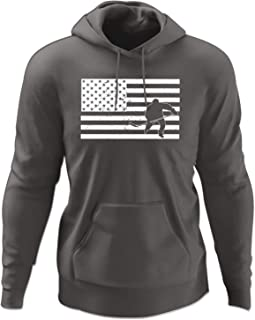 INKEEZY Men's Hockey Player Inside American Flag Hoodie