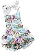 C&M Wodro Baby Girls Sleeveless Easter Bunny Eggs Romper Bodysuit Summer Outfit