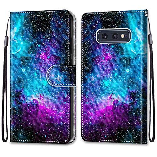 Nadoli Handyhülle Leder für Samsung Galaxy S10e,Bunt Bemalt Lila Sternenhimmel Trageschlaufe Kartenfach Magnet Ständer Schutzhülle Brieftasche Ledertasche Tasche Etui