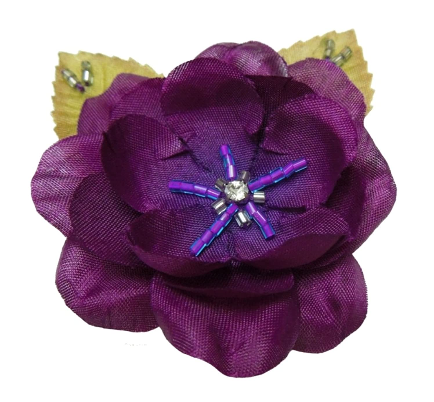 Cuteque International 6-Piece Pack Rhinestone Embellished Colorful Garden Roses with Leaves, Eggplant