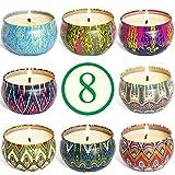 SUPERSUN 8 Velas Aromaticas Perfumadas Regalos para Mujer con Latas para Baño, Yoga, SPA, Relajación, Alivio del Estrés