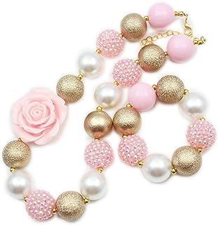 Artvine pink flower gold wrinkle rhinestone beads chunky statement necklace bracelet set