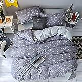 Heimtextilien Bettwäsche Set Junge Kind Mädchen Erwachsene Leinen Weiche Bettbezug Kissenbezug Bettlaken Königin Grau 150x200 cm