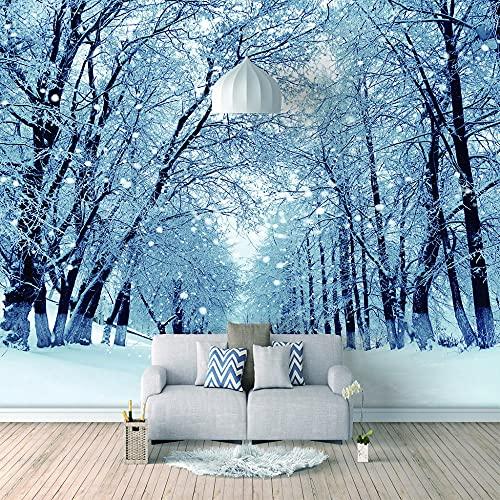 Papel Pintado 3D Foto Murales Nieve helada,Papel Tapiz Fotográfico Premium No-Tejido Mural Apto para Sala de Estar Dormitorio Decoración de la Papel Tapiz 200x150 cm - 4 tiras
