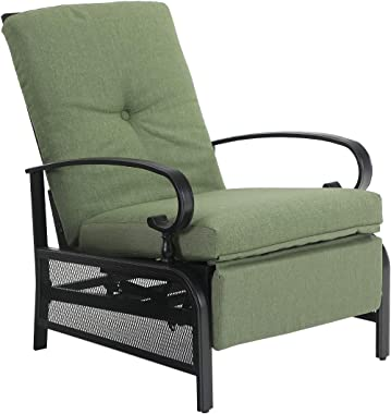 "PHI VILLA Patio Adjustable Lounge Chairs Outdoor Metal Relaxing Recliner Sofa Chair with 5"" Removable Cushions, Green"