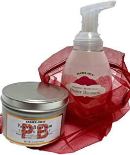 TJ Trader Joes Foaming Hand Soap and Tinned Candle in Voile Bag Gift Bundle - Choice of Honeycrisp Apple or Peony Blossom (Pink Peony Blossom)
