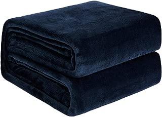 NEWSHONE Flannel Fleece Luxury Blanket - Lightweight Cozy Plush Throw Blanket King Size(90inX108in) Navy Blue