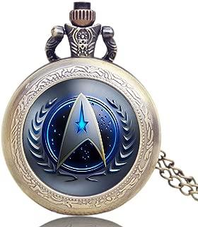 Quartz Pocket Watch, Sweater Necklace Chain Star Trek Theme Pocket Watch for Men, Blue Glass Dome Pocket Watch Gift - JLYSHOP