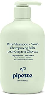 Pipette New Formula Baby Shampoo + Wash, 100% Plant-Derived Squalane and Free of Synthetic Fragrances, Tear-Free Baby Bath...