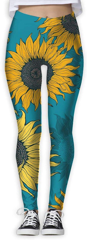 EWDVqqq Women Yoga Pant Yellow Sunflowers High Waist Fitness Workout Leggings Pants