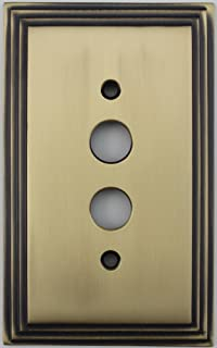 Deco Step Style Antique Brass One Gang Push Button Light Switch Wall Plate