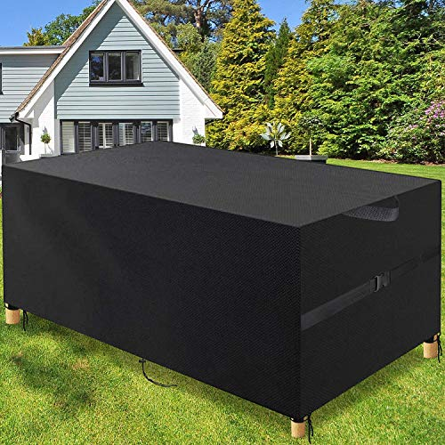 Pootack Garden Furniture Cover, 600D Outdoor Table Cover Waterproof - Heavy Duty Rip Proof Garden Table Cover Anti-Uv - Windproof Patio Set Cover For Rectangular Cube Round (79inch/200 * 160 * 70cm)