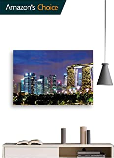 Singapore City 3D Wall Sticker, Wall Decal Flying Decor Art Decorations for Room Home Nursery Classroom Offices Decor, 48W x 32H Inches(Horizontal Direction)