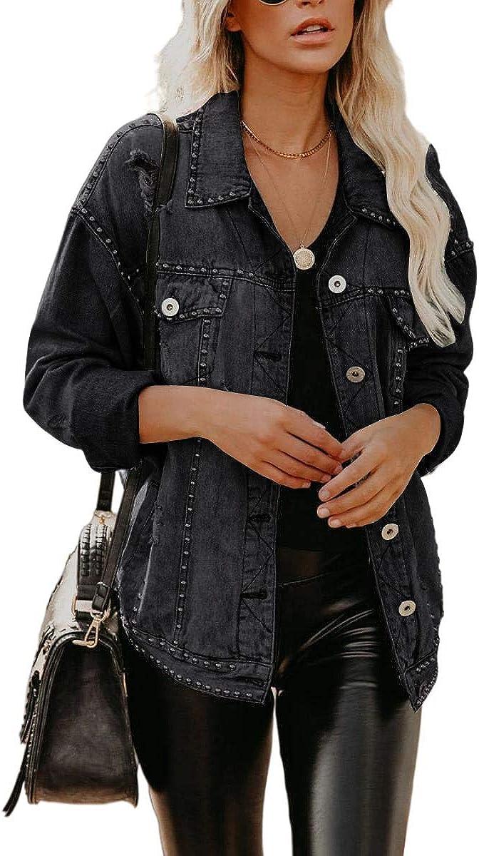 BZB Women Boyfriend Long Sleeve Denim Jacket Button Down Oversize Rivet Hole Jean Jackrt Coat