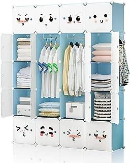 GEORGE&DANIS Portable Closet Wardrobe Plastic Dresser for Kids Teenagers Storage Cube Organizer Bookshelf Cabinet, Blue, 14 inches Depth, 4x5 Tiers