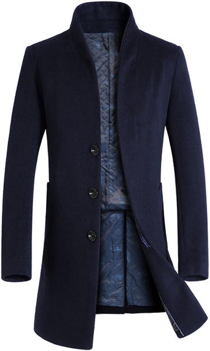 Lavnis Men's Trench Coat Long Wool Blend Overcoat Slim Fit Down Topcoat