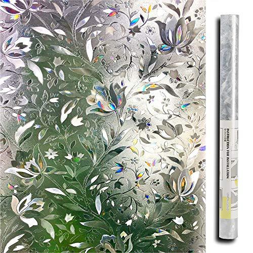 Lemon Cloud 3D Fensterfolie Statisch Selbsthaftend Blickdicht Sichtschutzfolie Fenster Milchglasfolie Folie Glasfolie Selbstklebend Dekofolie UV Schutz Blumen 44.5 x 200 cm