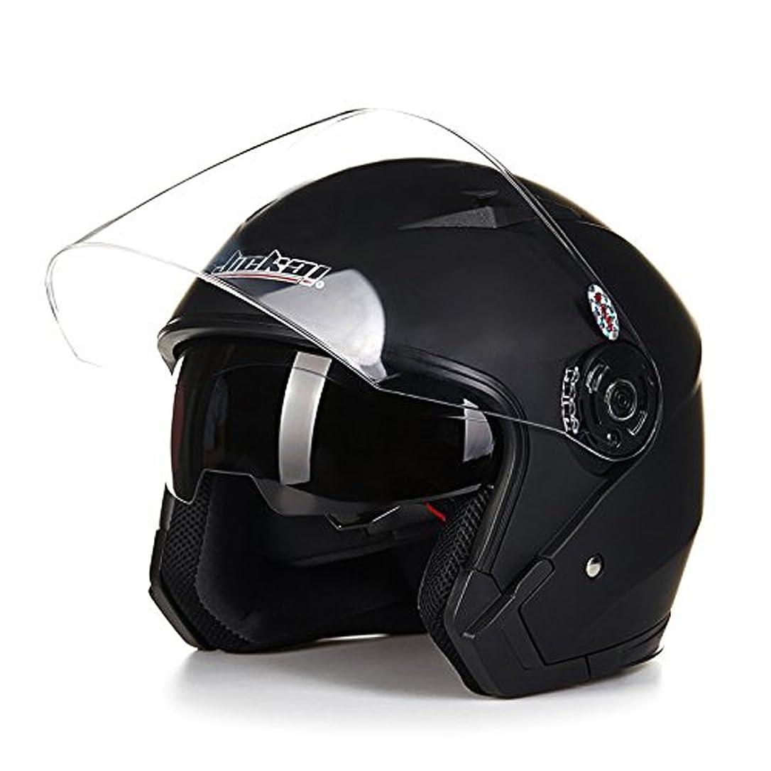 地殻彼ら家事をするバイクヘルメット ジェットヘルメット JIEKAI JK-512 超人気 Bike Helmet メンズ レディース 10色選択可 艶消しブラック(透明シールド)L