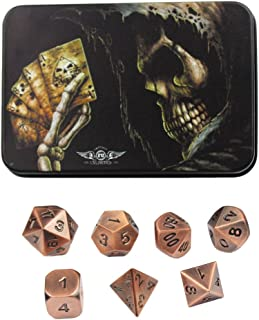 Bronze Copper Solid Metal Polyhedral Dice - for Dungeons and Dragons, Pathfinder and other RPGs