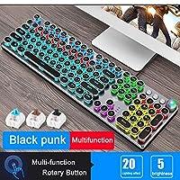 デスクトップノートパソコン用ゲーミングメカニカルキーボードメタルパネルラウンドキーキャップ有線コンピュータ周辺機器 互換用キートップ (Axis Body : Red Switch, Color : Punk Multifunct blac)