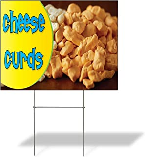 Plastic Weatherproof Yard Sign Cheese Curds #1 Style A Cheese Curds Dairy Green Cheese Curds for Sale Sign Multiple Quantities Available 18inx12in One Side Print One Sign
