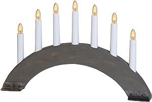 Candelabro Avvento Natale Svedese in legno e metallo Grey - Lampada da Tavolo con cavo
