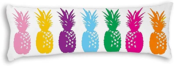 UTF4C Multi Colored Pineapple Indoor Body Pillow Covers Cases With Double Sided 20 X54 Pillow Cases With Zipper For Pregnant Women
