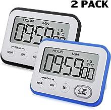 2 Pack Digital Kitchen Timer Magnetic Loud Alarm Clock, Large LCD Screen Silent/Beeping Multi-function for Teachers Kids(Black, Blue)