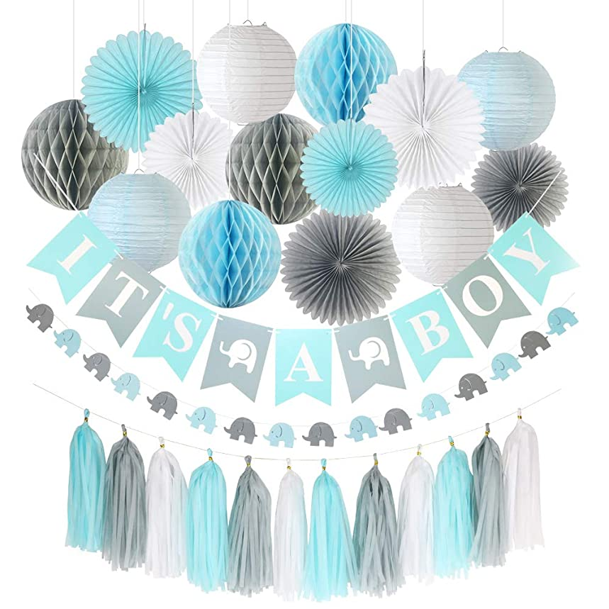 """Pococo Premium Baby Shower Decorations for Boy: 28 Pieces Blue, Gray, White Extra Elephant Kit Includes """"It's a Boy"""" Banner, 4 Honeycomb Balls, 4 Lanterns, Elephant Garland, 6 Fans, 12 Tassels"""