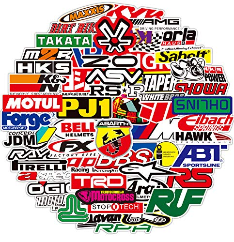 Waterproof JDM Race Cars Stickers 100 pcs Modified Cars Drift Race Racing Vinyl Stickers for Water Bottles Computer Aesthetic Stickers for Teens Skateboard Stickers Hydroflask Laptop Decals