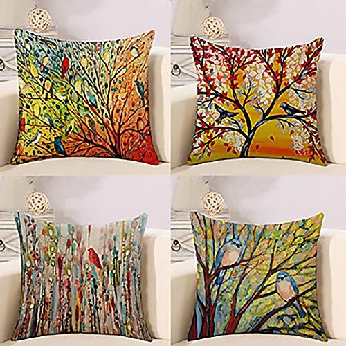 BDwantan (a Pack Of 4 Pieces Plant Bird Oil Painting Art Rural Style Cotton Linen Decoration Throw Pillow Pillowcase Sofa Bedroom Car Cushion Cover