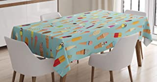 """Ambesonne Ice Cream Tablecloth, Mix of Yummy Dessert with Chocolate and Fruit Flavor Toppings Cones Illustration, Dining Room Kitchen Rectangular Table Cover, 60"""" X 84"""", Mint"""