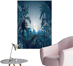 Modern Decor eNight in Rainforest Jungle with Wild Tiger Mo Light Palm Shrubs Hazy Ideal Kids Decor or Adults,16