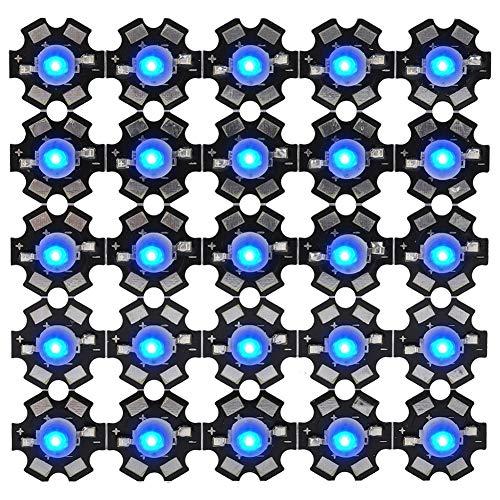 Riuty 25 Stücke LED Chips, 3 Watt High Power LED Lampe Perlen Emitter Diode Chips für DIY Beleuchtungskörper(Königsblau)