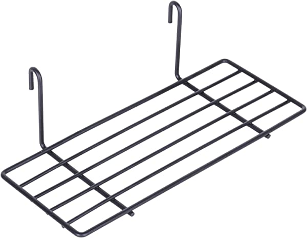 Kufox Hanging Straight Shelf For Wire Wall Grid Panel Small Wire Wall Organizer And Display Shelf Size 9 8 X3 9 Black Painted
