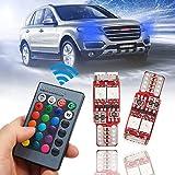 SODIAL 2 Pezzi T10 W5W LED RGB a Distanza Le luci di Controllo degli indicatori di direzione Interno di Automobile Wedge Side lampade