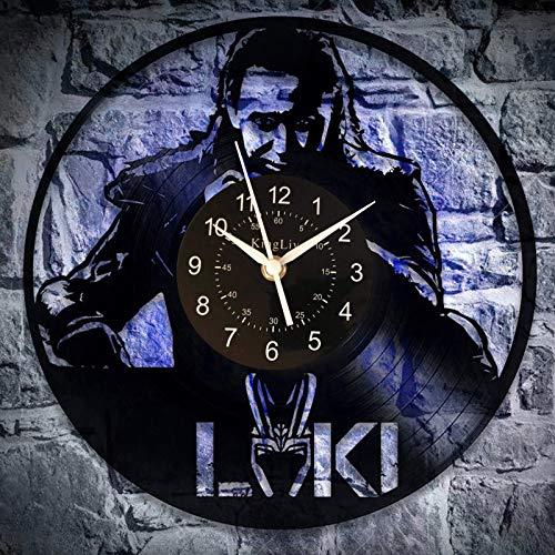 KingLive Loki The Avenger Vinyl Wanduhr Marvel Comics Wohnkultur Kunst Weihnachten Idee für ManRecord Uhr für Mann (led)